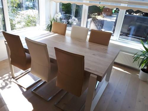 Set van 6 leren eetkamerstoelen - met sledepoot - diverse kleuren leer
