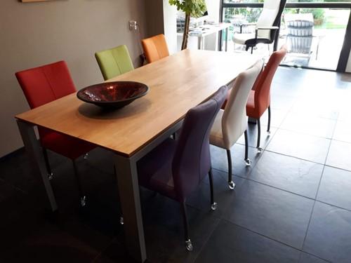Set van 6 leren eetkamerstoelen - met wieltjes - diverse kleuren leer
