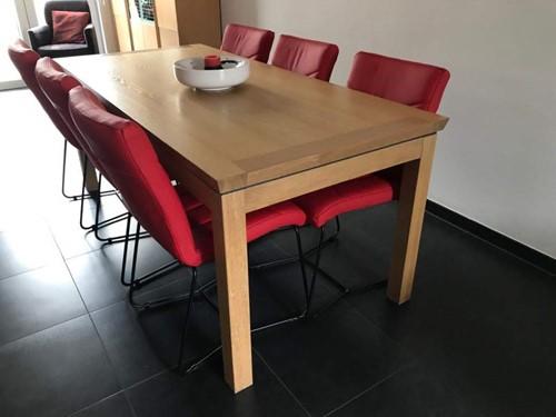 Set van 6 leren eetkamerstoelen met designpoot - rood leer