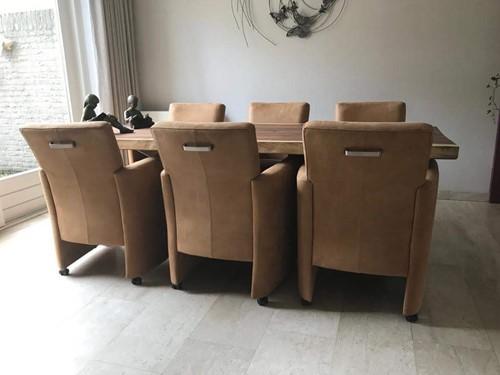 Set van 6 leren eetkamerfauteuils - met armleuning en wieltjes - bruin leer