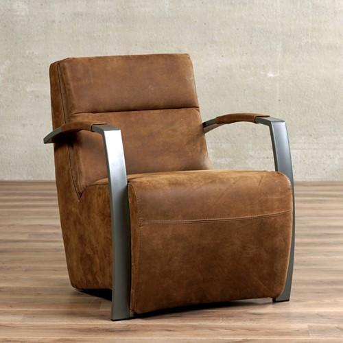 Leren fauteuil Arrival - Kenia Leer Brown - Frame grijs