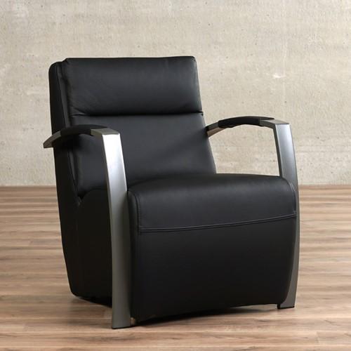 Leren fauteuil Arrival - Massif Leer Nero - Frame grijs