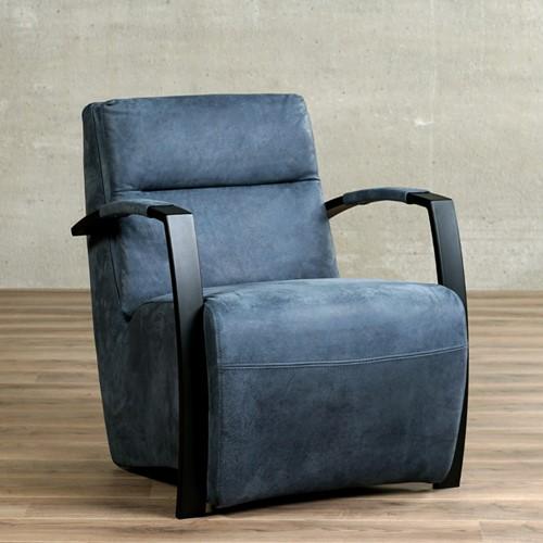 Leren fauteuil Arrival - Kenia Leer Denim - Frame zwart
