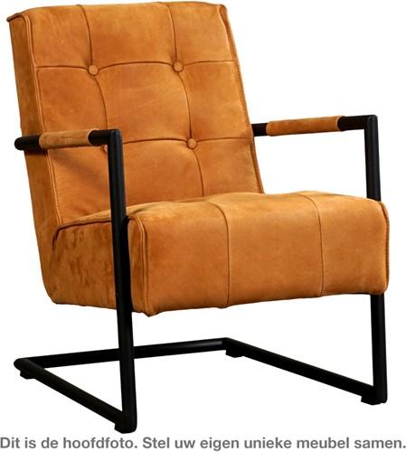 Leren fauteuil Base met sledepoot