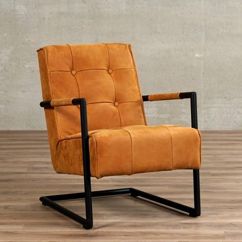 Leren fauteuil Base - Kenia Leer Cognac met sledepoot