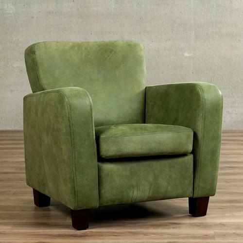Leren fauteuil Believe - Kenia Leer Olive - Hout - Bruin