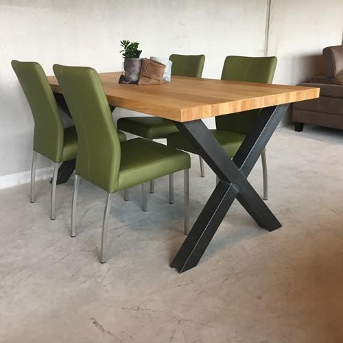 Set van 4 leren eetkamerstoelen - groen leer