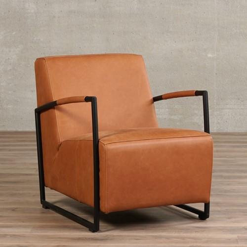 Leren fauteuil Creative - Rancho Leer Cognac - Frame zwart
