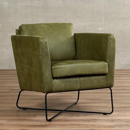Leren fauteuil Crossover - Kenia Leer Olive