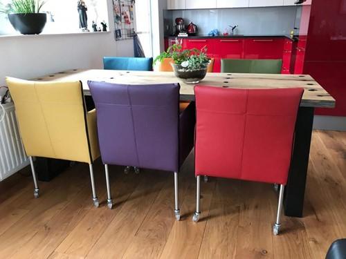 Set van 6 leren kuip eetkamerstoelen - met wieltjes - diverse kleuren leer