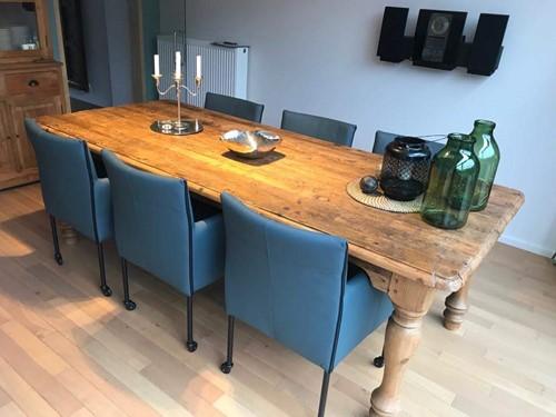 Set van 6 leren kuip eetkamerstoelen - met wieltjes - blauw leer