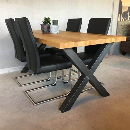 Set van 4 leren eetkamerstoelen - met sledepoot - zwart leer