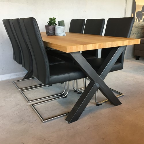 Set van 6 leren eetkamerstoelen - met sledepoot - zwart leer