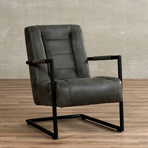 Leren fauteuil Dream - Kenia Leer Antracite met sledepoot