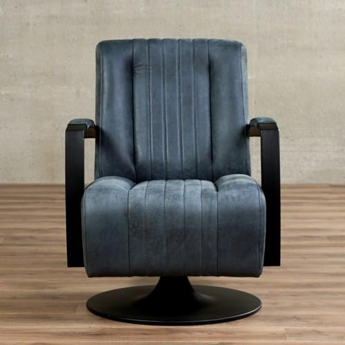 Leren draaifauteuil Galaxy - Kenia Leer Denim - Frame zwart - Schotelvoet zwart-2
