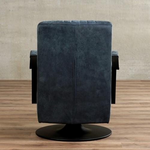 Leren draaifauteuil Galaxy - Kenia Leer Denim - Frame zwart - Schotelvoet zwart-3