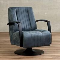 Leren draaifauteuil Galaxy - Kenia Leer Denim - Frame zwart - Schotelvoet zwart