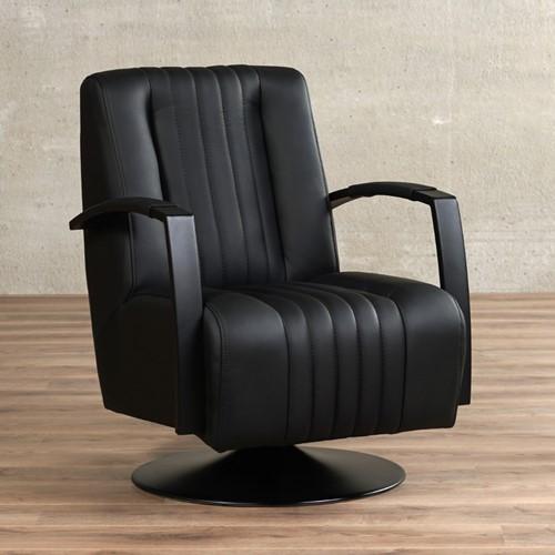 Leren draaifauteuil Galaxy - Toledo Leer Nero - Frame zwart - Schotelvoet zwart