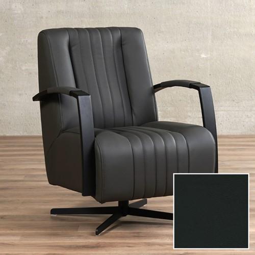 Leren draaifauteuil Galaxy - Toledo Leer Nero - Frame zwart - Stervoet zwart