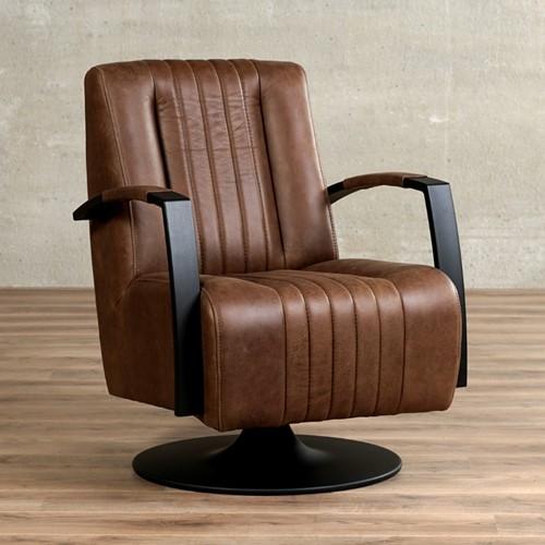 Leren draaifauteuil Galaxy - Vintage Leer Brown - Frame zwart - Schotelvoet zwart