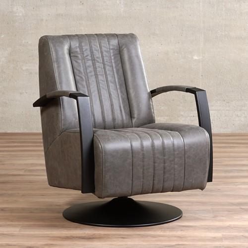 Leren draaifauteuil Galaxy - Vintage Leer Grey - Frame zwart - Schotelvoet zwart