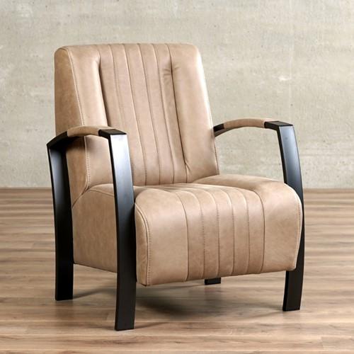 Leren fauteuil Glamour - Vintage Leer Taupe - Frame antraciet