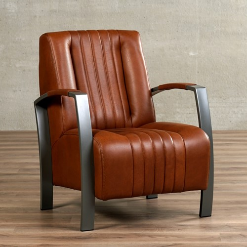 Leren fauteuil Glamour - Granada leer Savannah - Frame grijs