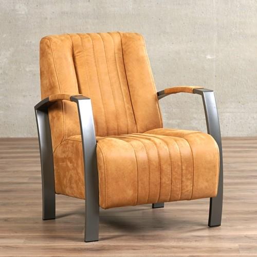 Leren fauteuil Glamour - Kenia Leer Cognac - Frame grijs