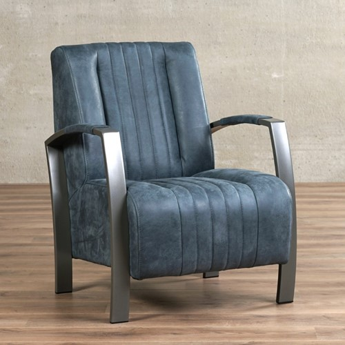 Leren fauteuil Glamour - Kenia Leer Denim - Frame grijs