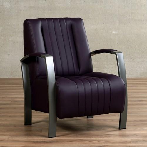 Leren fauteuil Glamour - Toledo Leer Merlin - Frame grijs