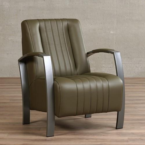 Leren fauteuil Glamour - Massif Leer Olive - Frame grijs