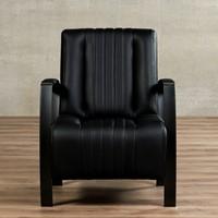 Leren fauteuil Glamour - Toledo Leer Nero - Frame antraciet-2
