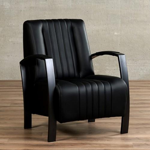 Leren fauteuil Glamour - Massif Leer Nero - Frame antraciet