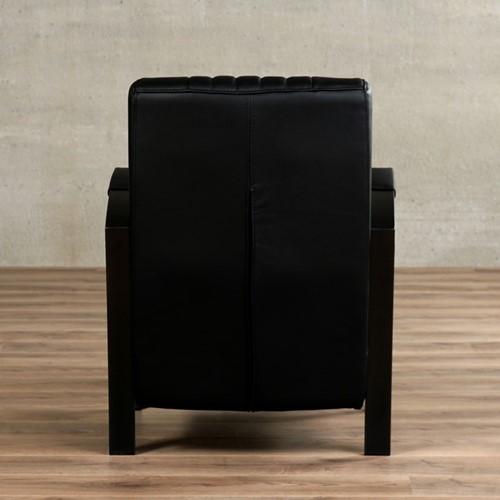 Leren fauteuil Glamour - Toledo Leer Nero - Frame antraciet-3