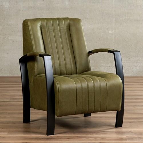 Leren fauteuil Glamour - Vintage Leer Olive - Frame antraciet
