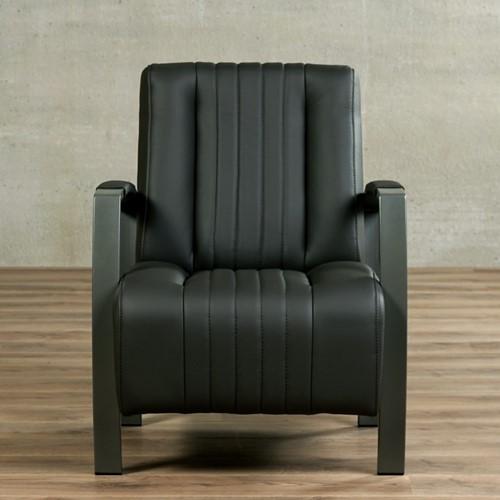 Leren fauteuil Glamour - Toledo Leer Antracite - Frame grijs-2