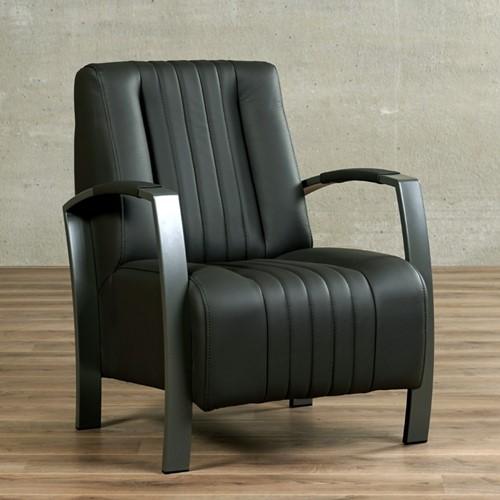 Leren fauteuil Glamour - Toledo Leer Antracite - Frame grijs