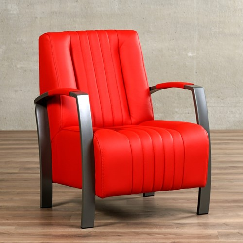 Leren fauteuil Glamour - Toledo Leer Ferrari - Frame grijs