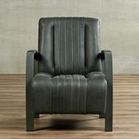 Leren fauteuil Glamour - Vintage Leer Grey - Frame grijs-2