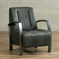 Leren fauteuil Glamour - Vintage Leer Grey - Frame grijs