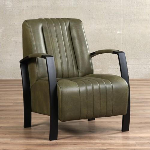 Leren fauteuil Glamour - Granada leer Moss - Frame zwart