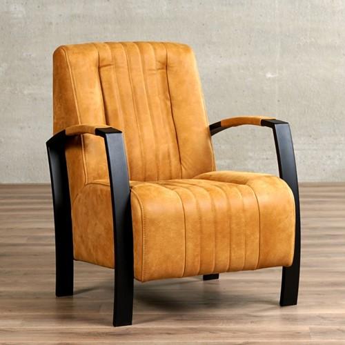 Leren fauteuil Glamour - Kenia Leer Cognac - Frame zwart