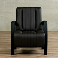 Leren fauteuil Glamour - Toledo Leer Caffe - Frame zwart-2