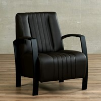 Leren fauteuil Glamour - Toledo Leer Caffe - Frame zwart