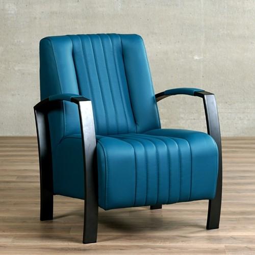 Leren fauteuil Glamour - Toledo Leer Turquoise - Frame zwart