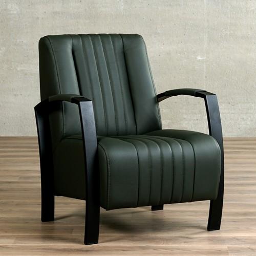 Leren fauteuil Glamour - Toledo Leer Verde - Frame zwart