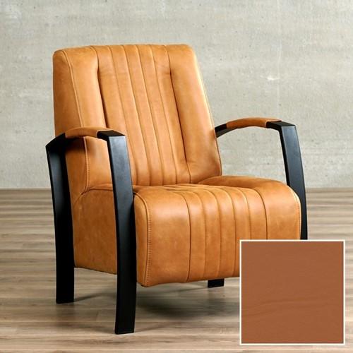 Leren fauteuil Glamour - Hermes Leer Cognac - Frame grijs