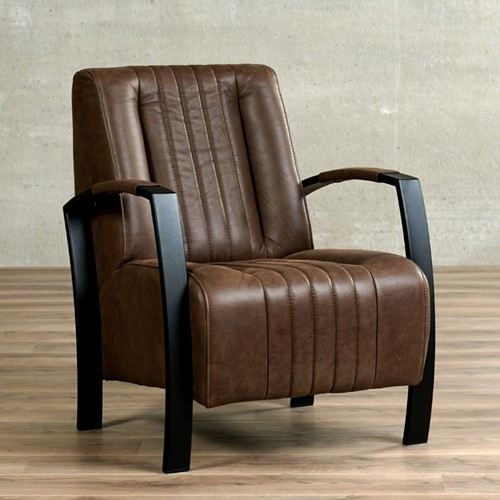 Leren fauteuil Glamour - Vintage Leer Brown - Frame zwart