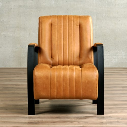 Leren fauteuil Glamour - Vintage Leer Cognac - Frame zwart-2
