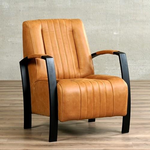 Leren fauteuil Glamour - Vintage Leer Cognac - Frame zwart